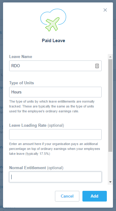 xero leave manually recorded rate